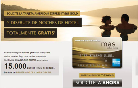 2725Con la American Express mas Gold noches de hotel gratis